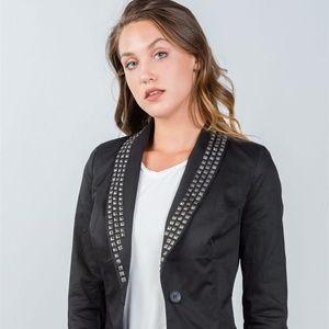 Jackets & Blazers - Ladies Fashion Black Studded Double Button Blazer